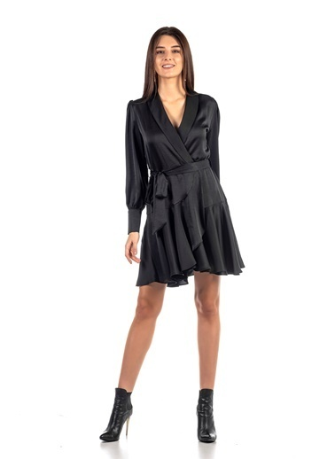 Coral   Anvelop Kapama Kuşaklı Elbise Siyah Siyah